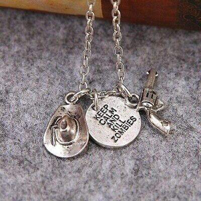 £1.99 • Buy The Walking Dead Keep Calm And Kill Zombies Pendant Chain Necklace Gun Hat UK