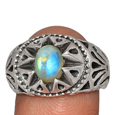 $14.99 • Buy Rainbow Moonstone - India 925 Sterling Silver Men's Ring Jewelry S.8.5 AR143861