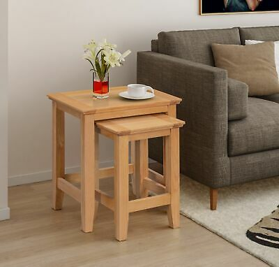 Small Solid Oak Nest Of 2 Coffee Tables | Wooden Side/End/Lamp Nesting Set • 94.99£