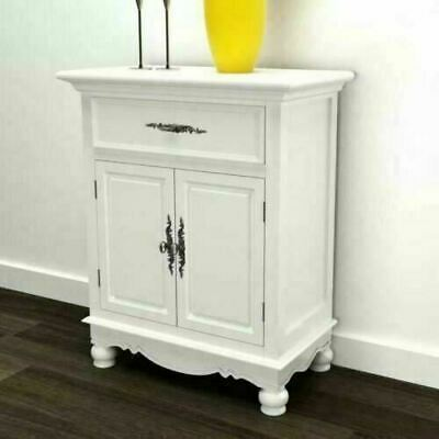 White Antique Cabinet Storage Cupboard Painted Vintage Unit Wooden Sideboard New • 119.90£
