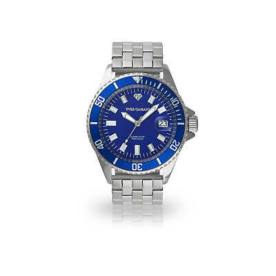 Yves Camani Anwen Mens Wrist Watch Stainless Steel Blue Dial Date 5 ATM New • 69£
