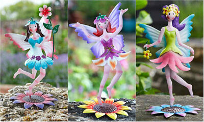 New Novelty Metal Flower Fairy Garden Ornaments Colourful Outdoor Figure Statues • 8.63£