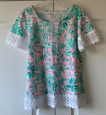 $50 • Buy NWT Lilly Pulitzer Hayes Top Bright Agate Green Colorful Camelflage Size Medium