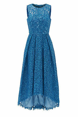 $18.99 • Buy Shoshanna Indigo Blue Womens 12 Floral Lace Pleated High-Low Dress $615- #660