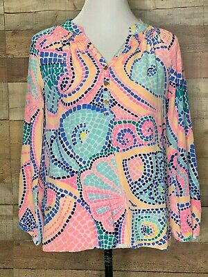 $49.97 • Buy Lilly Pulitzer Silk Elsa Top/Blouse Pink Multi Color Long Sleeve Small