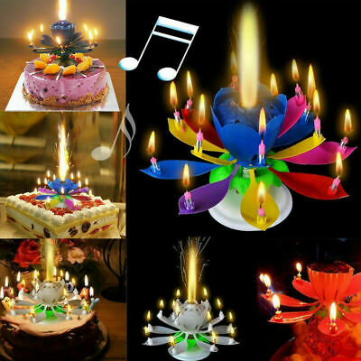 $ CDN2 • Buy Magic Lotus Flower Candle Cake Birthday Decoration Blossom Musical Rotating Gift