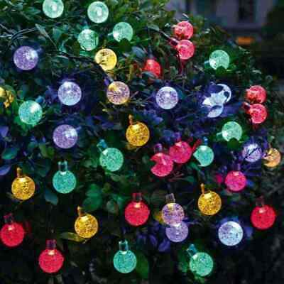 Solar Garden String Fairy 40/50 LED Crystal Globe Ball Weatherproof Lights Lamps • 9.99£