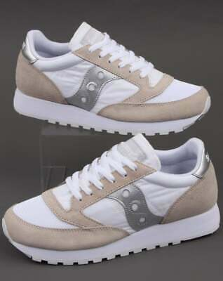 Saucony Jazz Vintage Trainers In White & Silver - Retro Classic Runners, Shoes • 75£