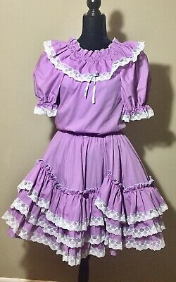 $29.71 • Buy 2 Pc Square Dance Dress Sasabobs Lilac Purple Ruffles Circle Skirt