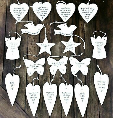 East Of India Porcelain Ceramic Hanging Hearts Star Bird Butterfly Gift Friend • 4.75£