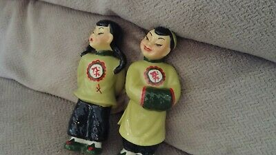 $3.55 • Buy Vintage  Ceramic Arts  Studio  Pair Oriental Chinese Figurines Mop-pi Smi-li