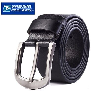 $9.98 • Buy Mens Genuine Leather Belt Belts Casual With Pin Buckle Brown Black US Stock