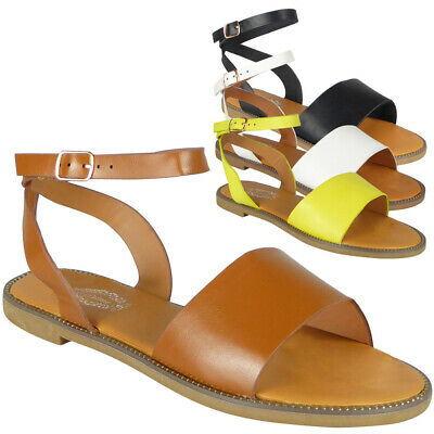 £8.99 • Buy Gladiator Sandals Shoes Flats Open Toe Ankle Strap Studded Summer Ladies Sizes