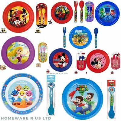Toddler Childrens Matching Dinner Plates & Cutlery Sets Lunch Meals Plastic • 4.49£