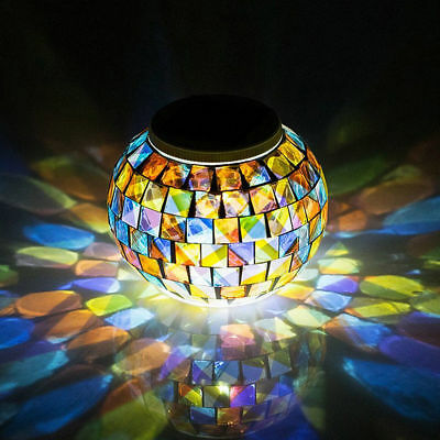 Solar Mosaic Glass Light Up LED Indoor Outdoor Table Lantern Ornament Decoration • 7.99£