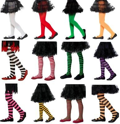 Kids Fashion Tights Every Day Wear Fancy Dress Stockings Girls Striped Elf Witch • 2.99£