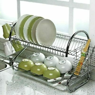 2 Tier Dish Drainer Rack Storage Drip Tray Sink Drying Wired Draining Plate Bowl • 15.59£