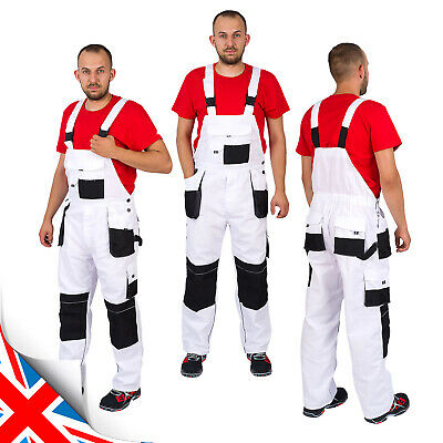 £17.25 • Buy New WHITE Men WORK TROUSERS Bib And Brace Overalls Dungarees White For Painting