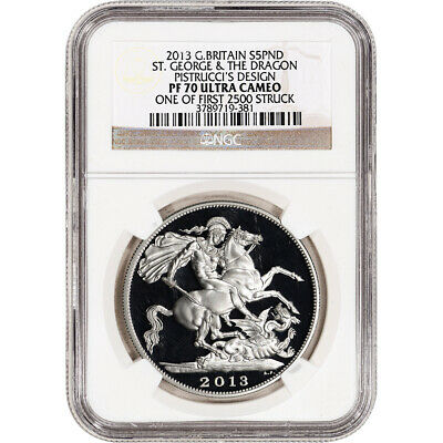 $395 • Buy 2013 Great Britain Silver St George The Dragon Pistrucci Proof £5 NGC PF70 UCAM