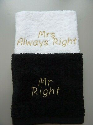£5.99 • Buy 100% Cotton Face Cloth Set, Embroidered With MR RIGHT / MRS ALWAYS RIGHT