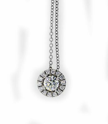 $1199.99 • Buy Forevermark De Beers 18k White Gold .80 Tcw Halo Diamond Pendant Necklace 16.5
