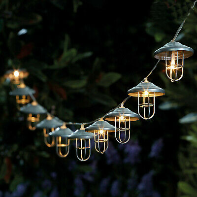 10 LED Solar Powered Lanterns Fairy String Lights Outdoor Garden Party Hanging • 11.99£