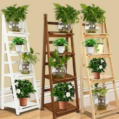 4 Tier Wooden Ladder Folding Book Shelf Stand Plant Flower Display Shelving Rack • 23.99£