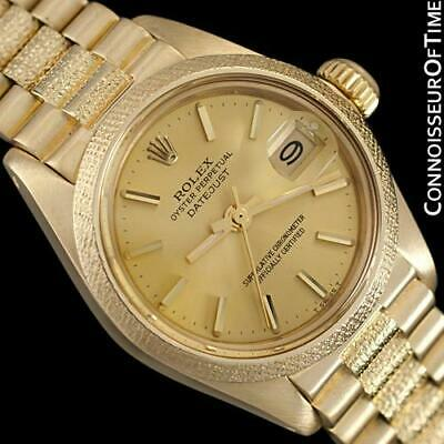 AU8478.44 • Buy Rolex President Datejust Ladies Bark Finish Champagne Dial, Ref. 6901 - 18K Gold