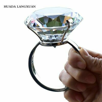 AU48.80 • Buy Crystal Large Diamond Ring Romantic Proposal Marriage Props Wedding Decoration