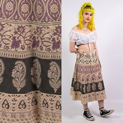 Vintage 70's Paisley Wrap Skirt Womens Patterned Ethnic Hippie Boho Midi 10 12 • 15£
