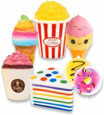 AU29.75 • Buy Slow Rising Jumbo SQUISHIES Set Pack Of 7 - Rainbow Triangle Cake, Frappuccino,