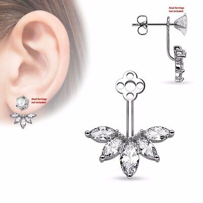$9.89 • Buy One Piece 5 Marquise Cut CZ Fan Womens Add On Earring Cartilage Barbell Jacket