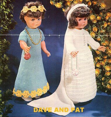 Knitting Crochet Pattern Wedding Dress Veil Bridesmaid Flowers Toy 20  Doll 627 • 2.35£