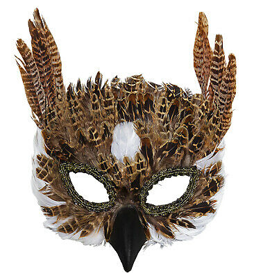 OWL FEATHER MASK Masquerade Mask Animals Fancy Dress • 6.74£