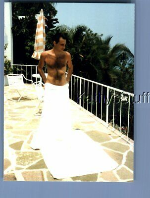 $ CDN5.27 • Buy Gay Interest Photo R+4421 Shirtless Hairy Man Posed In Towel On Patio