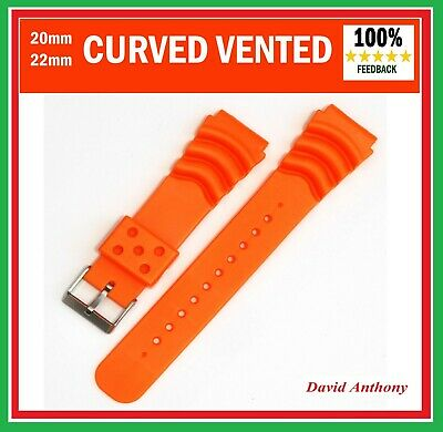 20mm 22mm ORANGE DIVERS PU RUBBER WATCH STRAP FOR SEIKO.CURVED VENT Z20, Z22 • 5.95£