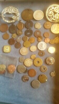 Nice Old Job Lot Mainly Foreign Coins Medallians Ect Nr • 5£