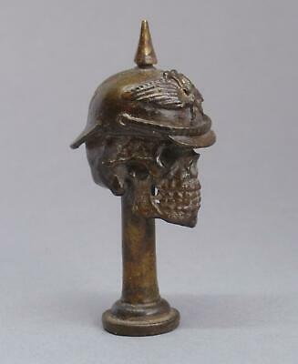 Vintage WW1 GERMAN Death Head PICKELHAUBE HELMET Skull PIPE TAMPER Somme BRONZE • 37.50£