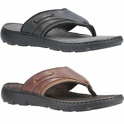 Mens Hush Puppies Connor Casual Flip Flop Toe Post Leather Sandals Sizes 7 To 12 • 32.99£