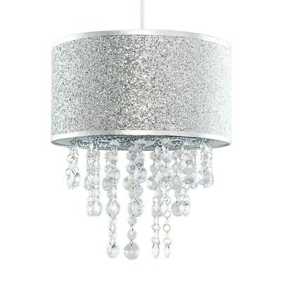 £34.99 • Buy Modern Ceiling Pendant Shade Silver Glitter With Clear Acrylic Droplets LED Bulb