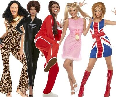 Womens Spice Girl Power Ginger Scary Sporty Baby Posh Fancy Dress Costumes Wigs • 11.48£