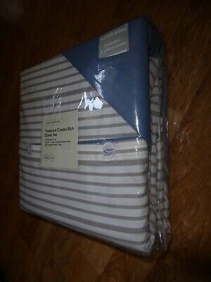 GREY STRIPE NAUTICAL 180 THREAD COUNT 80% COTTON Duvet Set SUPER KING *LAST ONE* • 29.99£