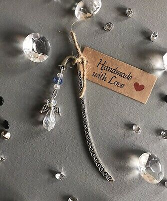 Handmade Gift Bookmark (March Birthstone) Crystal Guardian Angel Mother's Day • 2.99£