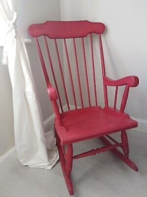 Solid Wooden Rocking Chair - Painted In Annie Sloan Red Chalk Paint • 11.60£