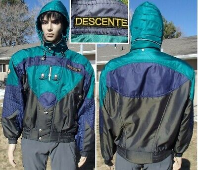 $99.75 • Buy MINT! Vintage 90s DESCENTE Ski Jacket Metallic Green Blue Colorblock Hood Mens M
