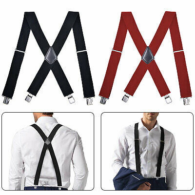 "$10.97 • Buy Men's Clip-on Suspender Braces Heavy Duty 2"" Wide 47  Elastic Adjustable X Back"