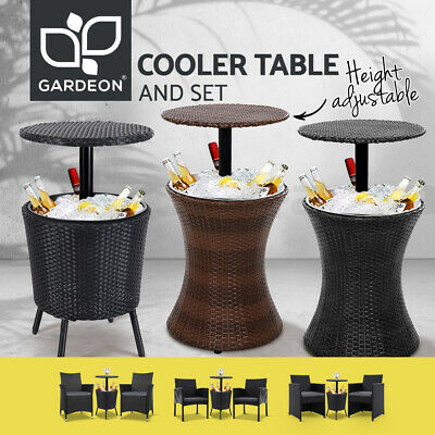 AU348.95 • Buy Bar Table Chairs Outdoor Setting 3in1 Cooler Ice Bucket Coffee Party Patio Pool