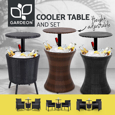 AU309.95 • Buy Gardeon Bar Table Chairs Outdoor Furniture 3in1 Cooler Ice Bucket Coffee Patio