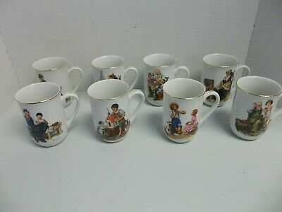 $ CDN31.41 • Buy Norman Rockwell Museum Collection 1982 Coffee Mugs Cups Gold Trim Set Of 8