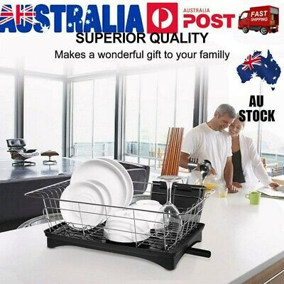 AU29.59 • Buy Dish Rack Drainer Drying Tray Cutlery Holder Utensil Caddy Stainless Steel VIC